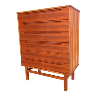 Mid Century Danish Modern Teak Highboy Dresser Chest of Drawers by Nils Jonsson for Hjn Møbler