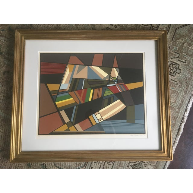 """Vintage Mid-Century Modern Abstract Geometric """"African Landscape I"""" Lithograph Print For Sale - Image 10 of 10"""