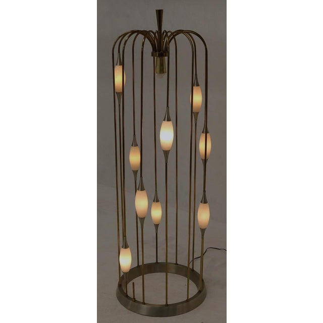 Mid-Century Modern Large Waterfall Brass Floor Lamp Light Fixture For Sale - Image 3 of 12