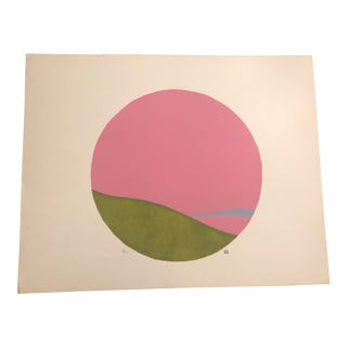 Pink, Green & Light Blue Colored Minimalist Hand-Painted Serigraph 2/20 by Geoffrey Graham For Sale