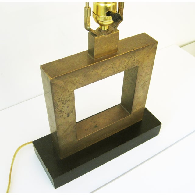 Contemporary Robert Abbey Square Brass Lamp For Sale - Image 3 of 6