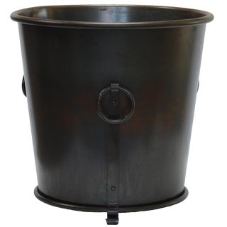 French 20th Century Modern Round Oil Rubbed Iron Planter With Handles For Sale