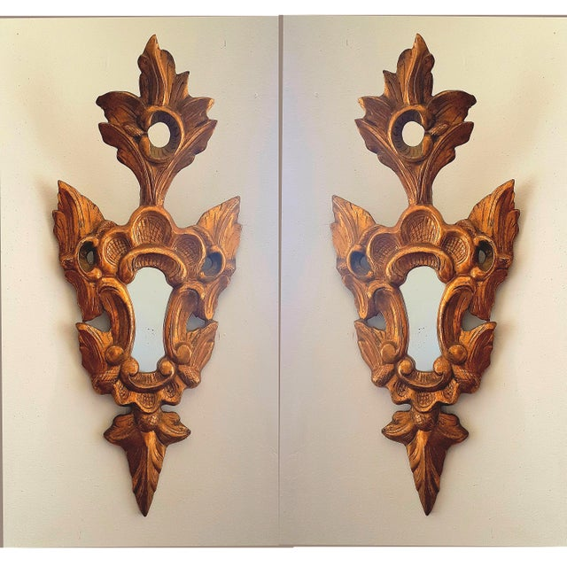 Gold 1920s French Neoclassical Gilt Wood Small Wall Mirrors - a Pair For Sale - Image 8 of 8