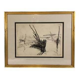 Early 20th Century Antique R. L. Boyer Boat Drypoint Etching Print For Sale
