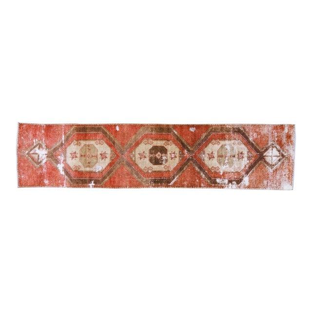 "1950s Boho Chic Brick Red and Brown Wool Kurdish Runner - 3'2""x13'6"" For Sale"