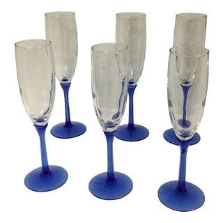Vintage Blue Stem Champagne Flutes Glasses by Libbey - Set of 6 For Sale