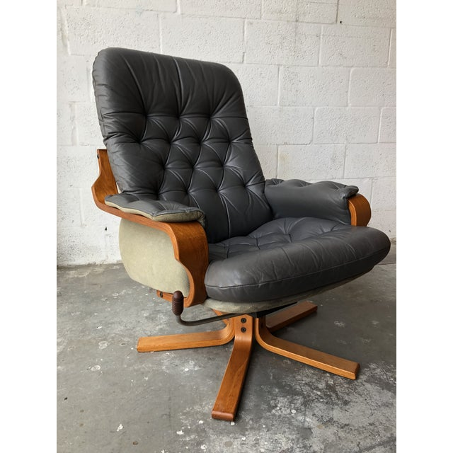 Mid-Century Modern Vintage Mid Century Modern Scandinavian Lounge Chair & Ottoman For Sale - Image 3 of 13