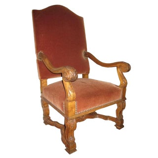 19th C. French Walnut Arm Chair For Sale