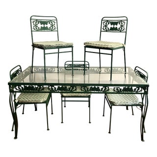 Vintage Molla Castt AlumInum Table With Glass Top & 5 Chairs With Seat Cushions For Sale