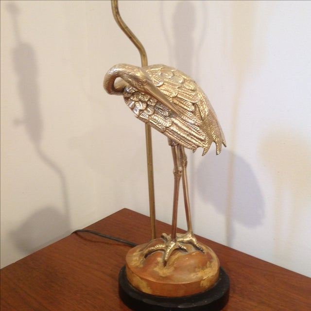 Solid Brass & Carved Wood Herron Lamp - Image 3 of 11