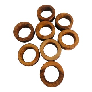 Late 20th Century Wooden Carved Floral Pattern Napkin Rings-Set of 8 For Sale