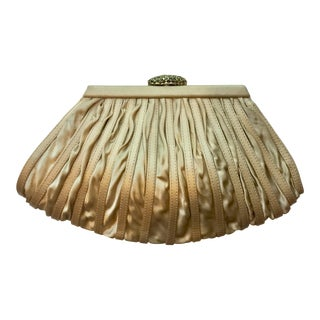 Rodo Pleated Silk Crystal Clasp Purse For Sale