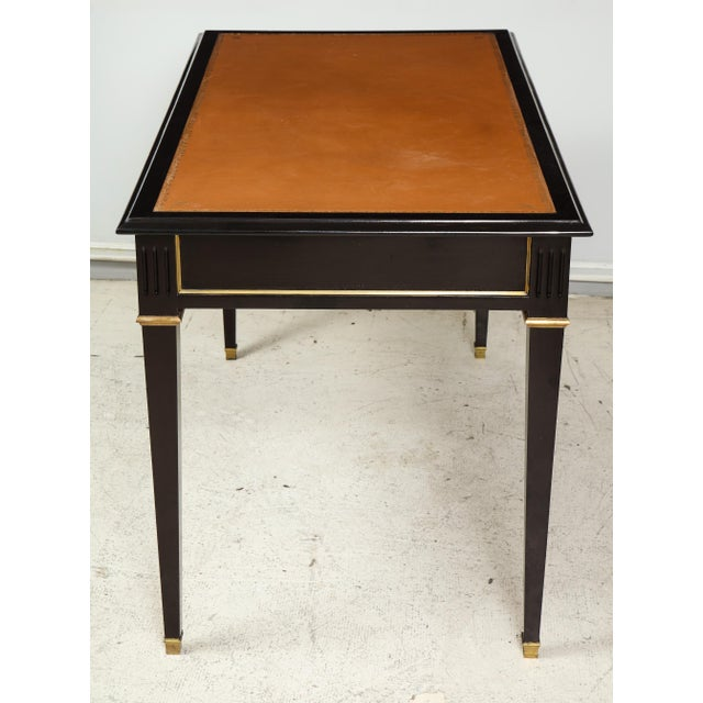 Wood Ebonized Leather-Top Bronze-Mounted Bureauplat Desk For Sale - Image 7 of 11