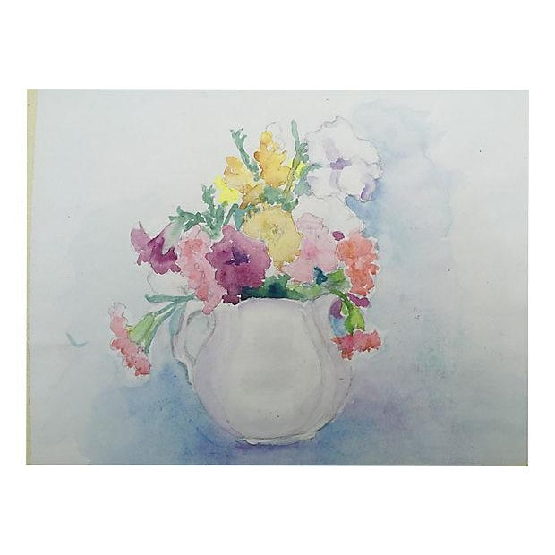 Mid-Century Floral Still Life Watercolor Painting - Image 4 of 4