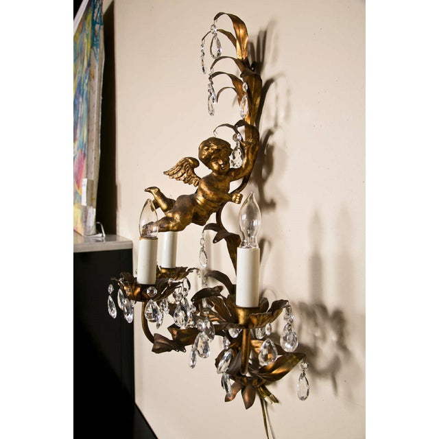 French Gilt-Brass 3-Light Wall Sconces - A Pair For Sale - Image 4 of 8