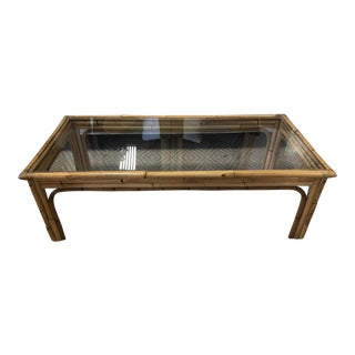 Boho Chic Bamboo Rattan Glass Top Coffee Table For Sale