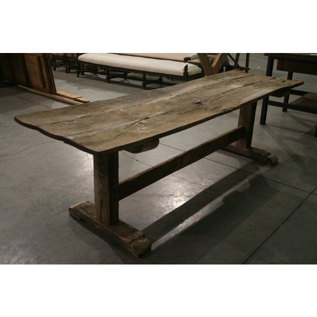 Long Rustic Oak Console or Dining Table For Sale - Image 4 of 9