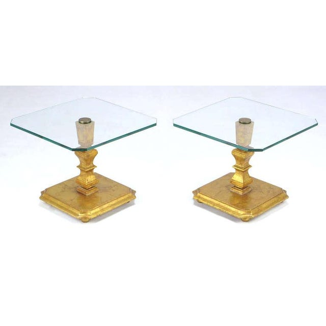 Pair of Italian Gilt Wood & Canted Corner Glass Top Tables - Image 2 of 5