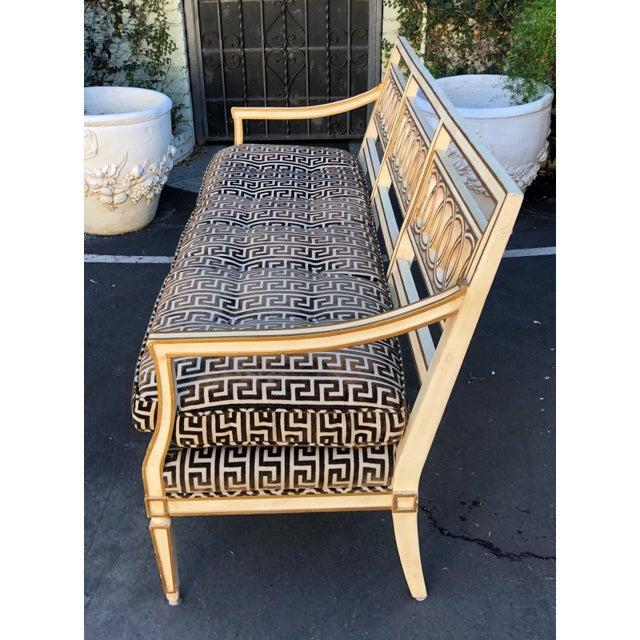 Spectacular Hollywood Regency Style Sofa Settee W Greek Key Cut Velvet For Sale - Image 4 of 8