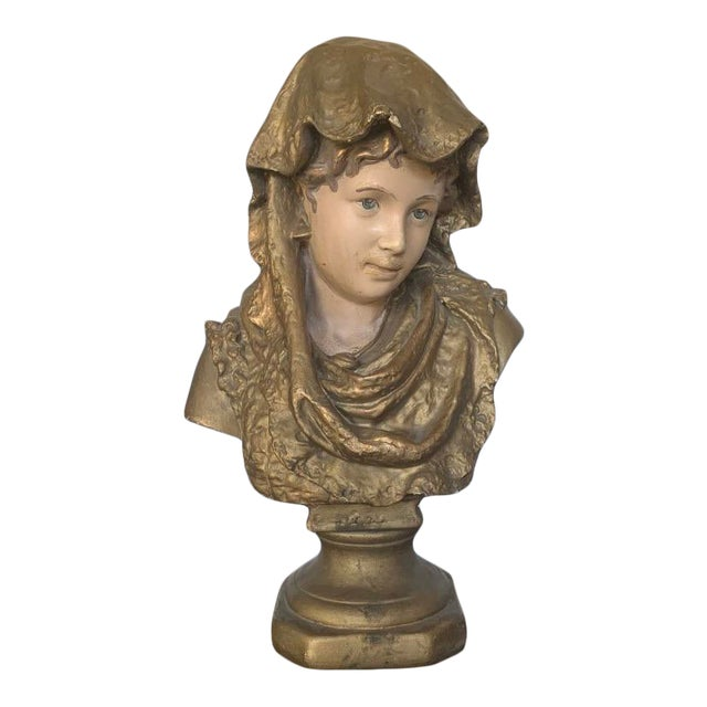 Antique 19th C. French Chalkware Bust For Sale