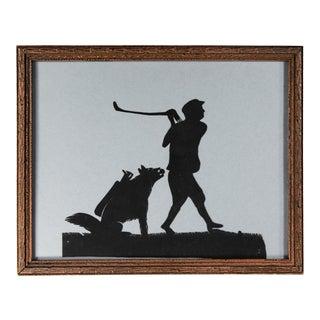 Vintage Folk Art Paper Cut Golfer and Dog Caddy