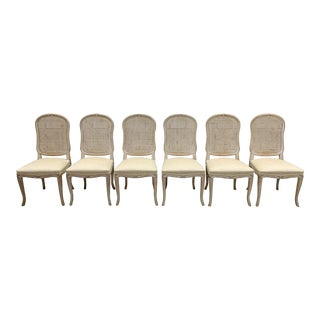 Mid Century Cane Back Ivory White Dining Chairs - Set of 6 For Sale