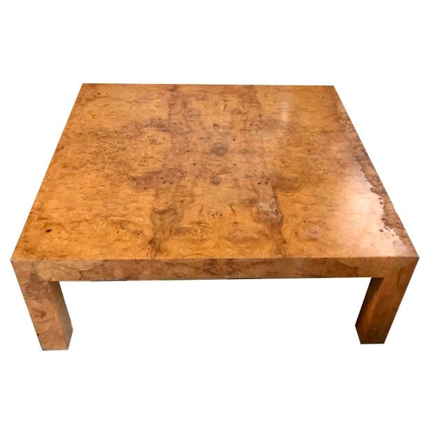 1970s 1970s Mid-Century Modern Burl Wood Square Coffee Table For Sale - Image 5 of 13