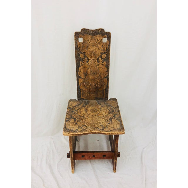 Antique Arts & Crafts Hand Carved Chair For Sale - Image 9 of 9