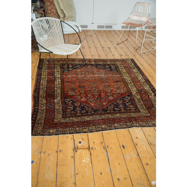 "Antique Fine Malayer Square Rug - 5'8"" x 5'8"" - Image 10 of 10"