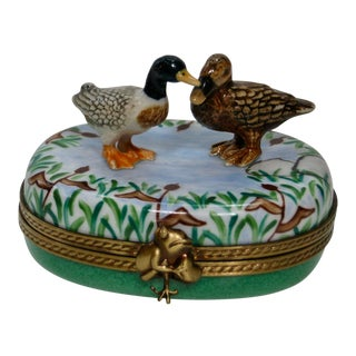 Vintage French Hand Painted Mallard Ducks Box For Sale