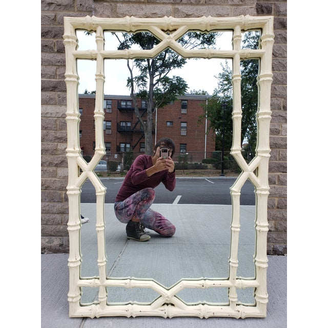 Large Faux Bamboo Hollywood Regency Painted Mirror For Sale - Image 13 of 13