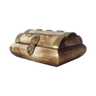 Moorish Bone And Brass Lidded Keepsake Box