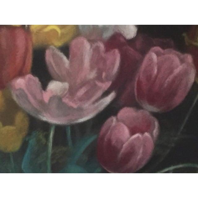 Yellow Vintage Pastel Tulip Still Life For Sale - Image 8 of 9