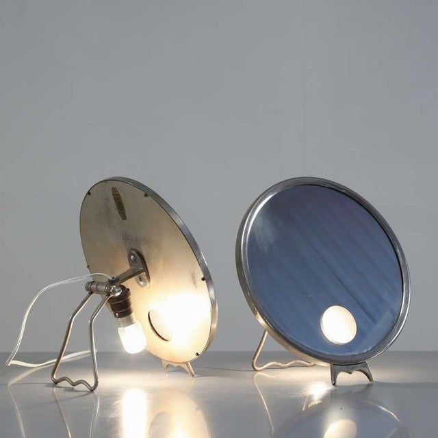 Pair Illuminating nickel 'Brot' vanity mirrors, France, 1930s For Sale - Image 4 of 7