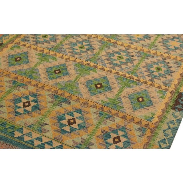 Darleen Green/Teal Hand-Woven Kilim Wool Rug -5'2 X 6'7 For Sale - Image 4 of 8