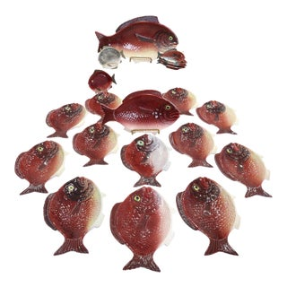 Vintage Palm Beach Regency Portuguese Majolica Fish Tableware - Set of 20 For Sale