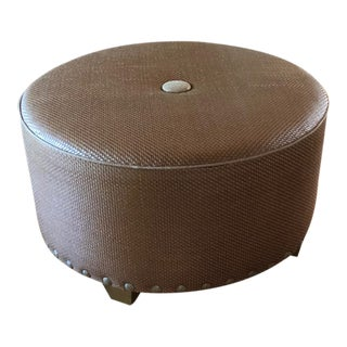 Rustic Custom Made Large Round Leather Ottoman