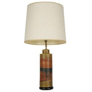 Marcello Fantoni Desert Tone Drip Glaze Ceramic Table Lamp For Sale