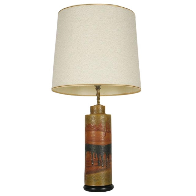 Marcello Fantoni Desert Tone Drip Glaze Ceramic Table Lamp For Sale