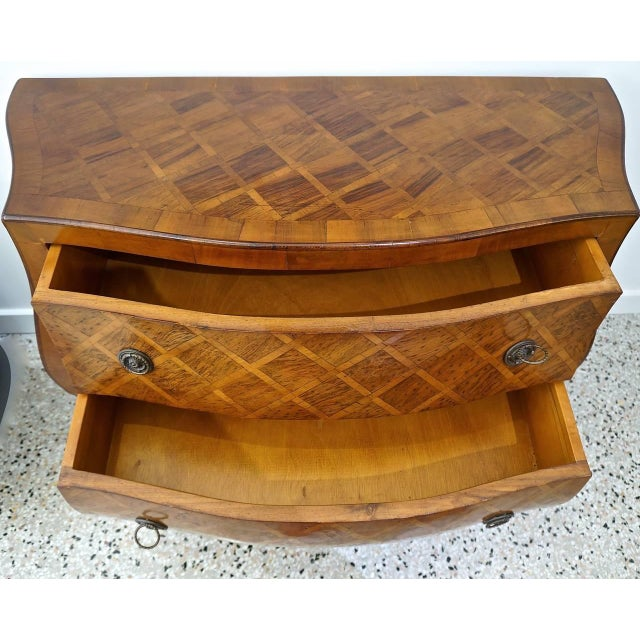 Louis XV Style Marquetry Bombe Commode: Italy, 1960s - Image 4 of 9