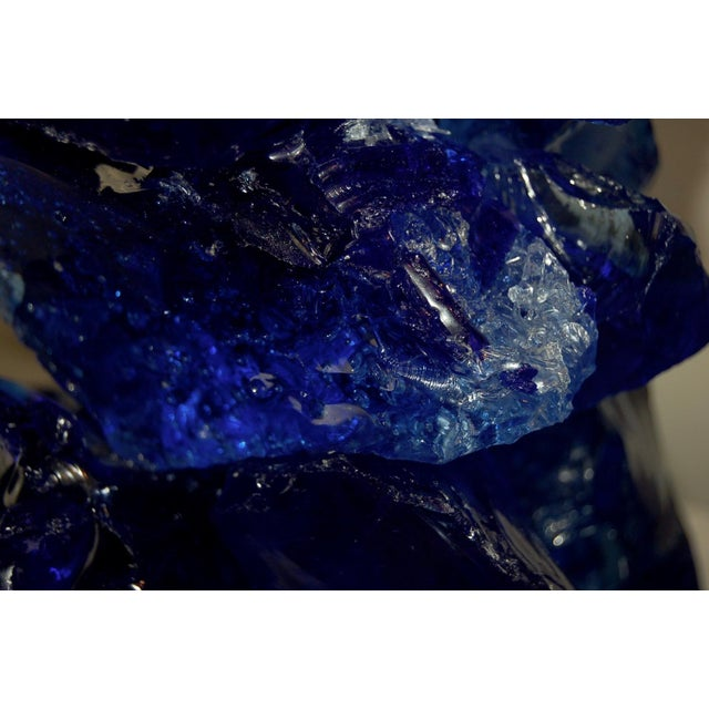 Glass Rock Table Lamps by Swank Lighting Cobalt Blue For Sale In Little Rock - Image 6 of 12