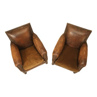 French Art Deco Leather Club Chairs in Original Leather - a pair For Sale