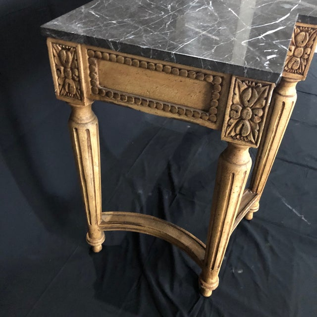 1950s French Louis XVI Style Console Table With Marble Top For Sale - Image 5 of 13