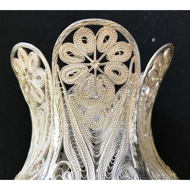"""Country Turkish Decorative Filigree Silver Decorative Vase 8.75""""h For Sale - Image 3 of 10"""