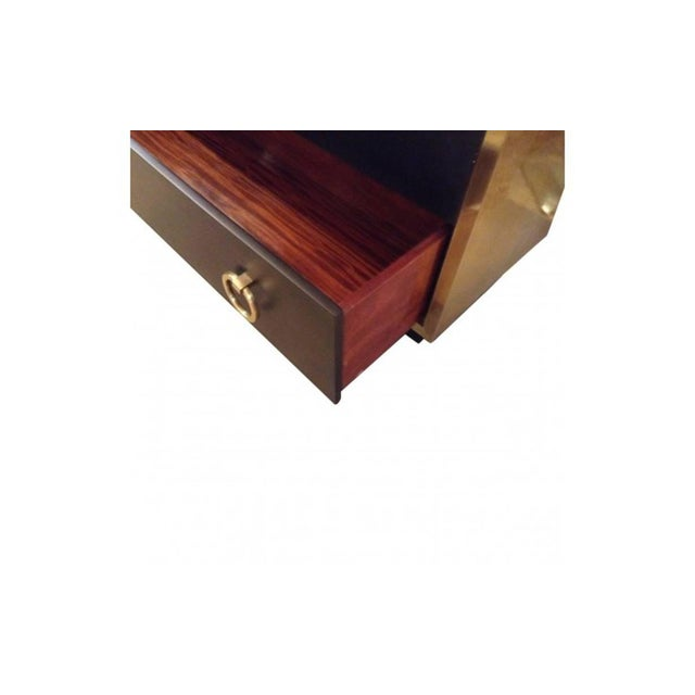 Late 20th Century Goat Skin Brass Italian Luxury Goatskin and Brass Three-Drawer Dresser For Sale - Image 5 of 8