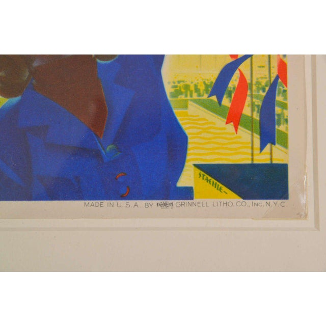 Blue 1939 Art Deco Machine Age Original New York World's Fair Posters Triptych For Sale - Image 8 of 9