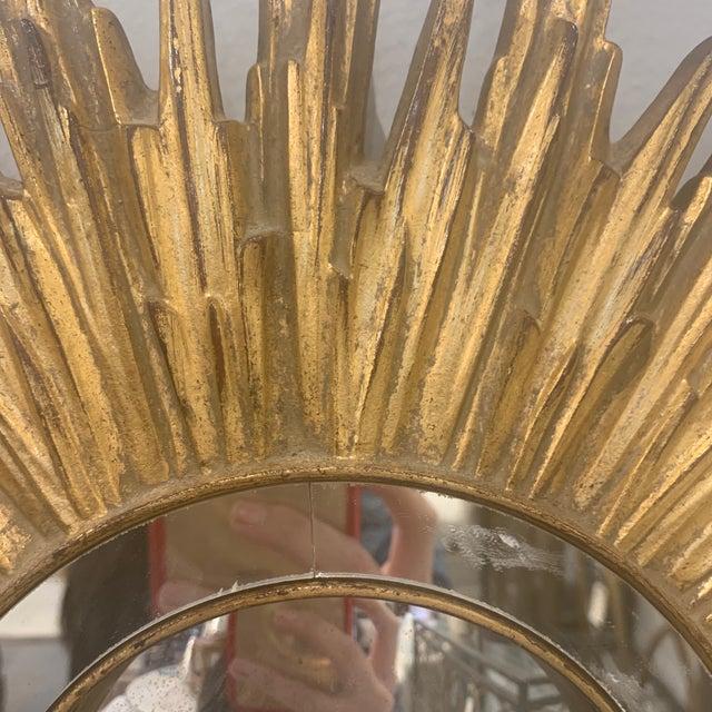 Hollywood Regency Gilded Sunburst Mirror For Sale - Image 4 of 13