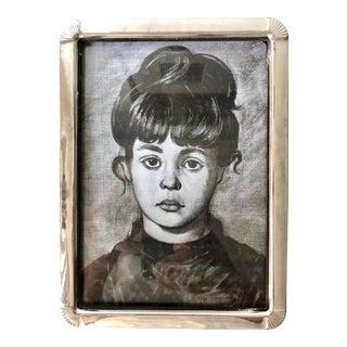 Vintage Silver Frame-Velvet Easel Back For Sale