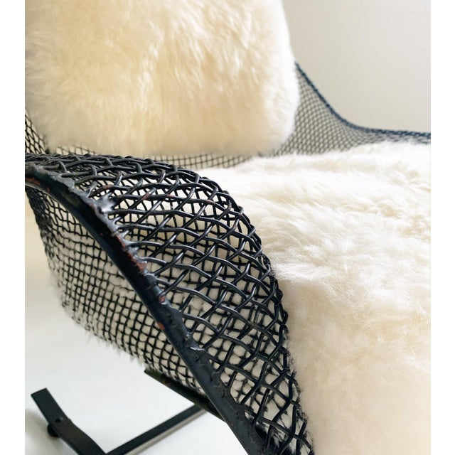 Black Russell Woodard Sculptura Lounge Chairs and Ottoman With Sheepskin Cushions - 3 Pc. Set For Sale - Image 8 of 10