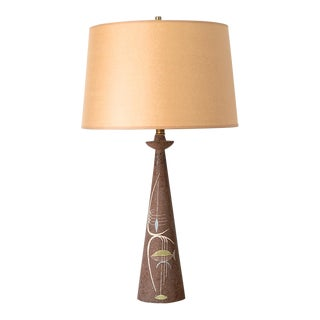 1950s Mid Century Modern Tye of California Pottery Abstract Design Table Lamp For Sale